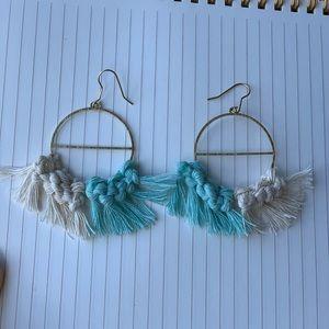 Handmade Macrame Earrings - Two Toned & Brass